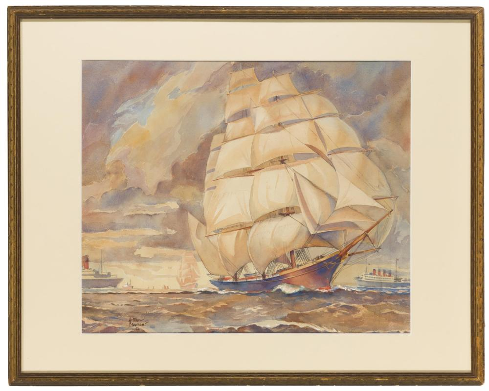 Arthur E. Beaumont, (1890-1978 Los Angeles, CA), Sailship at sea, 1928, Watercolor on board under glass, Sight: 15