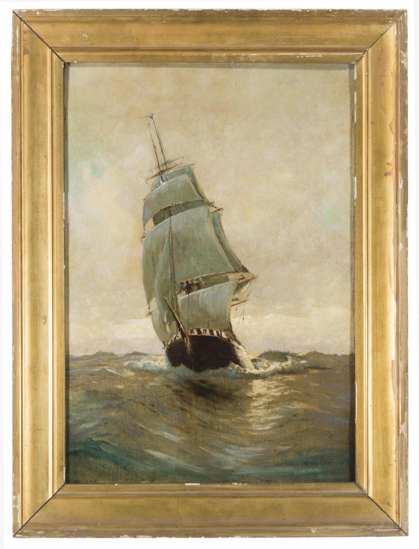 "Sydney M. Laurence, (1865-1940 Anchorage, AK), Clipper ship on rough seas, Oil on canvas, 20"" H x 14"" W"