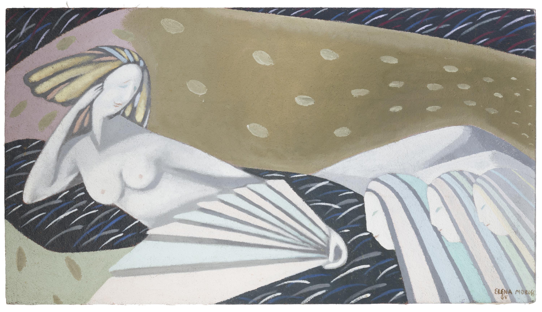 "Elena Moross, (b. 1955 American), Four girls, 1985, Acrylic on canvas, 30"" H x 54"" W"