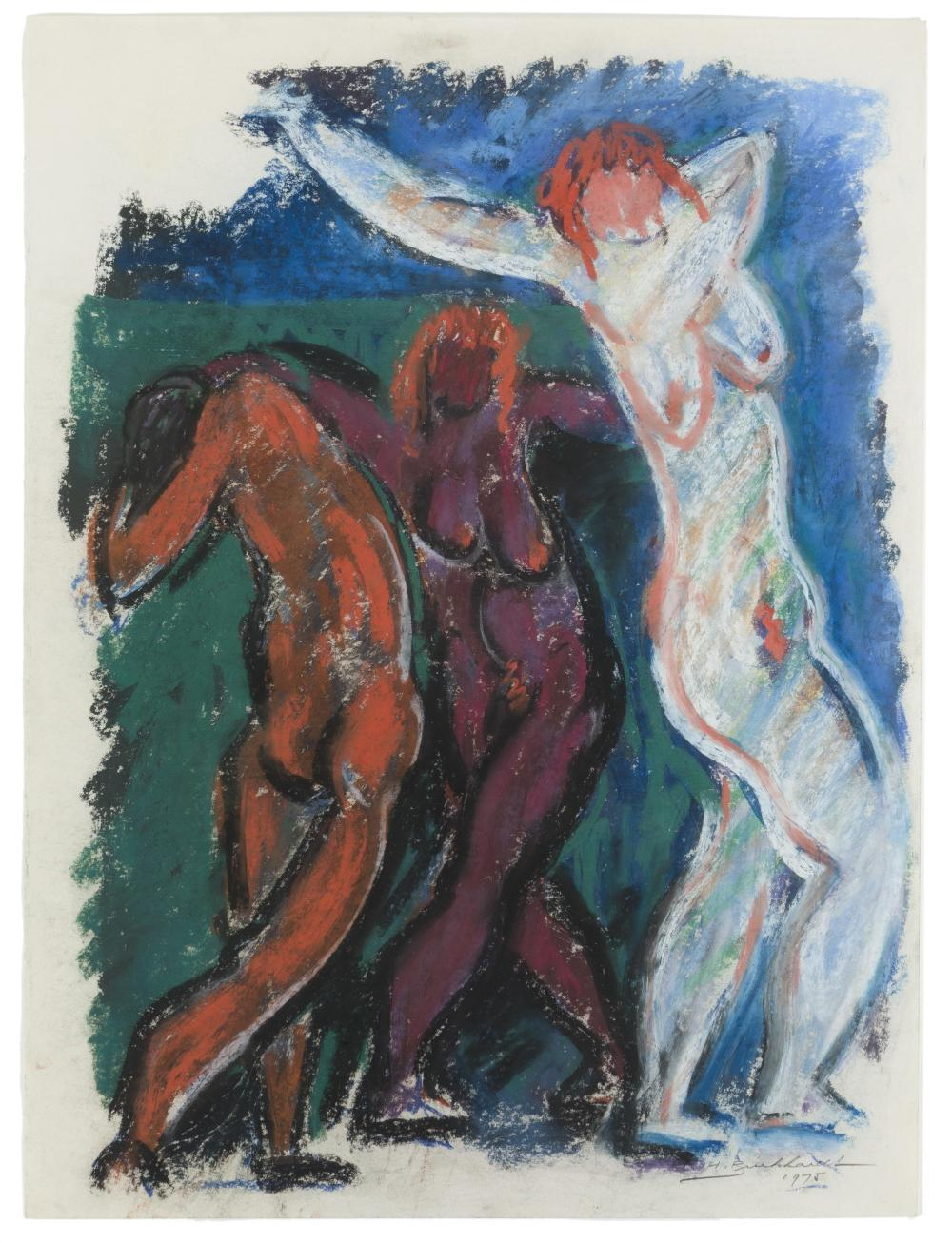 "Hans Gustav Burkhardt, (1904-1994 Los Angeles, CA), ""Nudes,"" 1975, Pastel on paper under glass, Sheet: 24"" H x 18"" W"