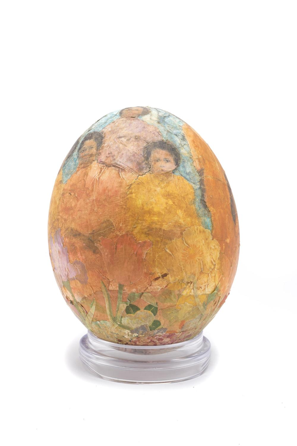"""Betye Saar, (b. 1926 Los Angeles, CA), """"In the Garden,"""" 2008, A decoupage ostrich egg, hand painted and printed paper, 6"""" H x 4.5"""" Dia."""