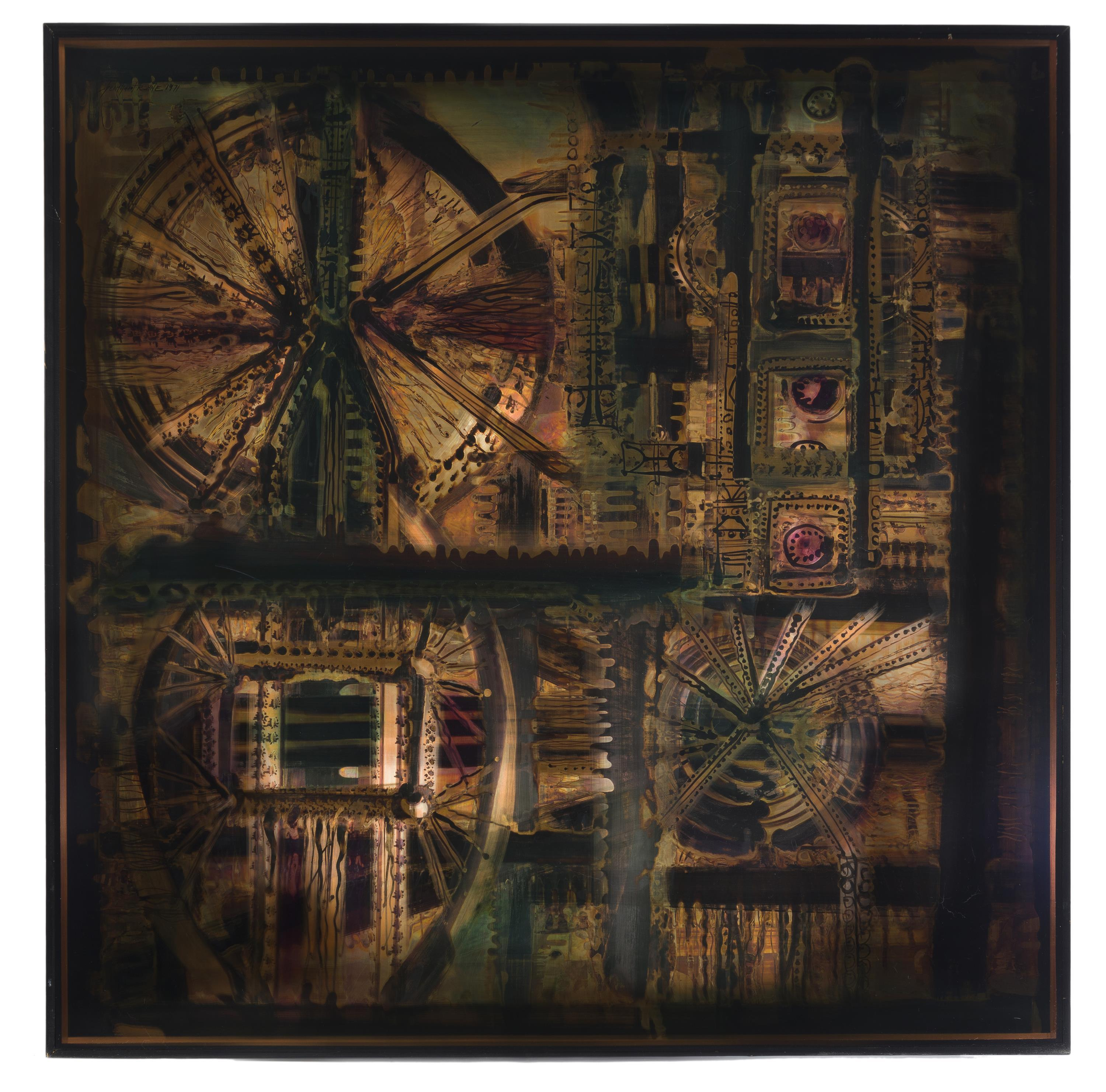 """Bernhard Rohne, (b. 1944 Germany/Canada), Untitled (Abstract), 1971, Mixed media on copper laid to panel, 36"""" H x 36"""" W"""