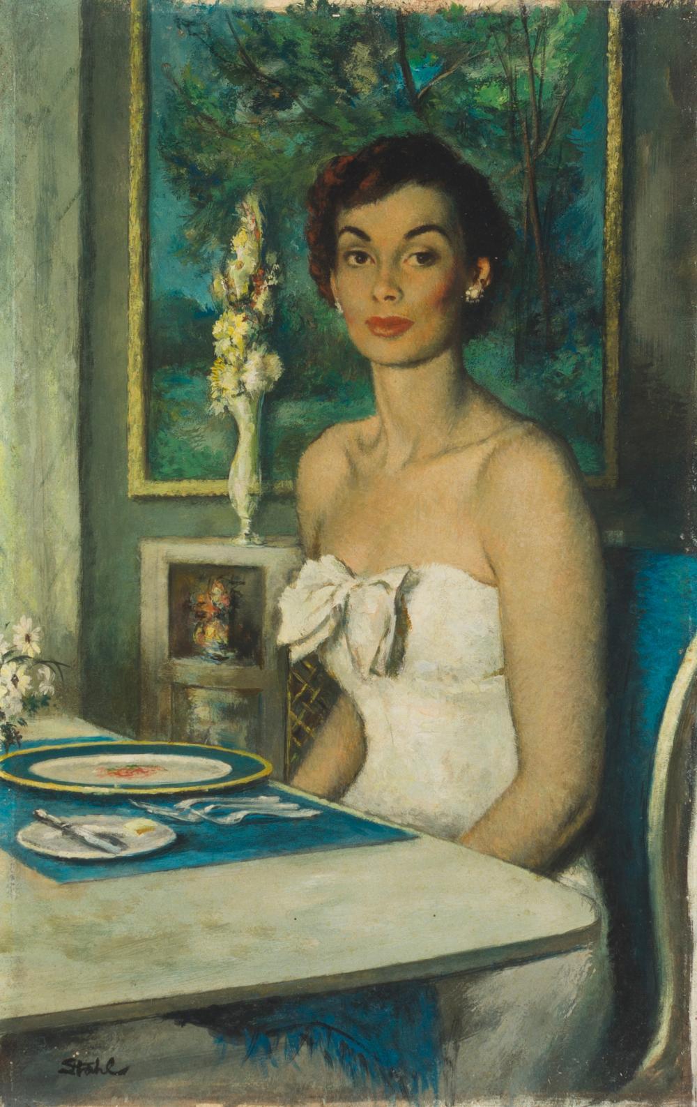 "Benjamin Stahl, (1910-1987 Sarasota, FL), Young woman seated, Oil on board, 14.5"" H x 9"" W"