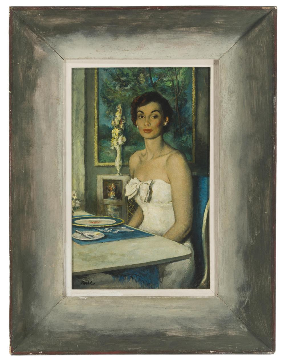 Benjamin Stahl, (1910-1987 Sarasota, FL), Young woman seated, Oil on board, 14.5