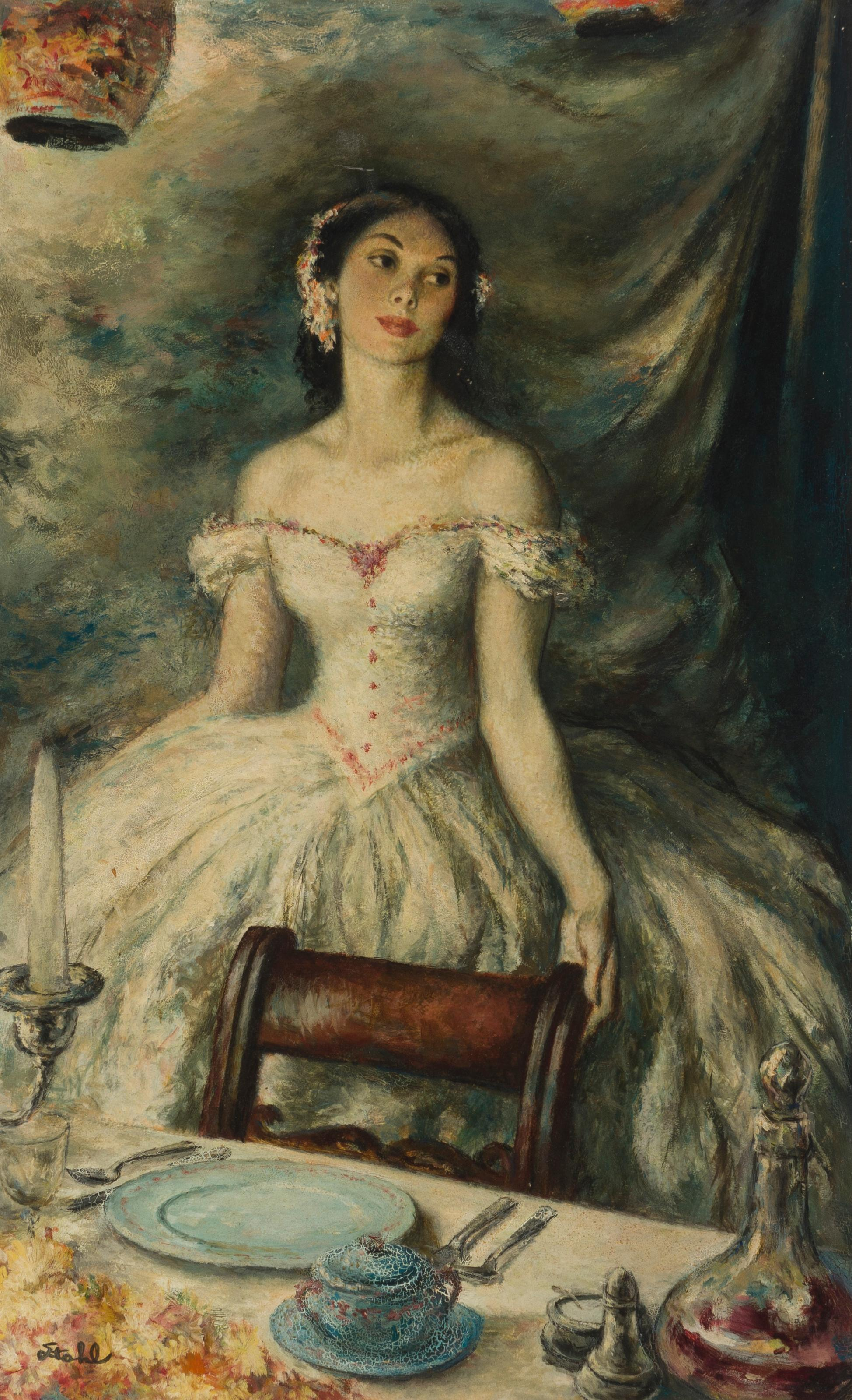 "Benjamin Stahl, (1910-1987 Sarasota, FL), Young woman in an interior, Oil on board, 20"" H x 12.25"" W"