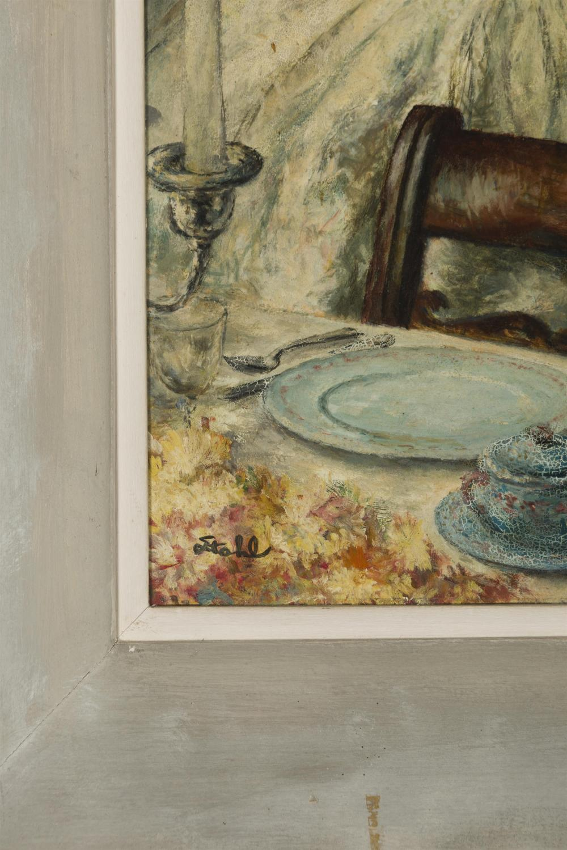 Benjamin Stahl, (1910-1987 Sarasota, FL), Young woman in an interior, Oil on board, 20