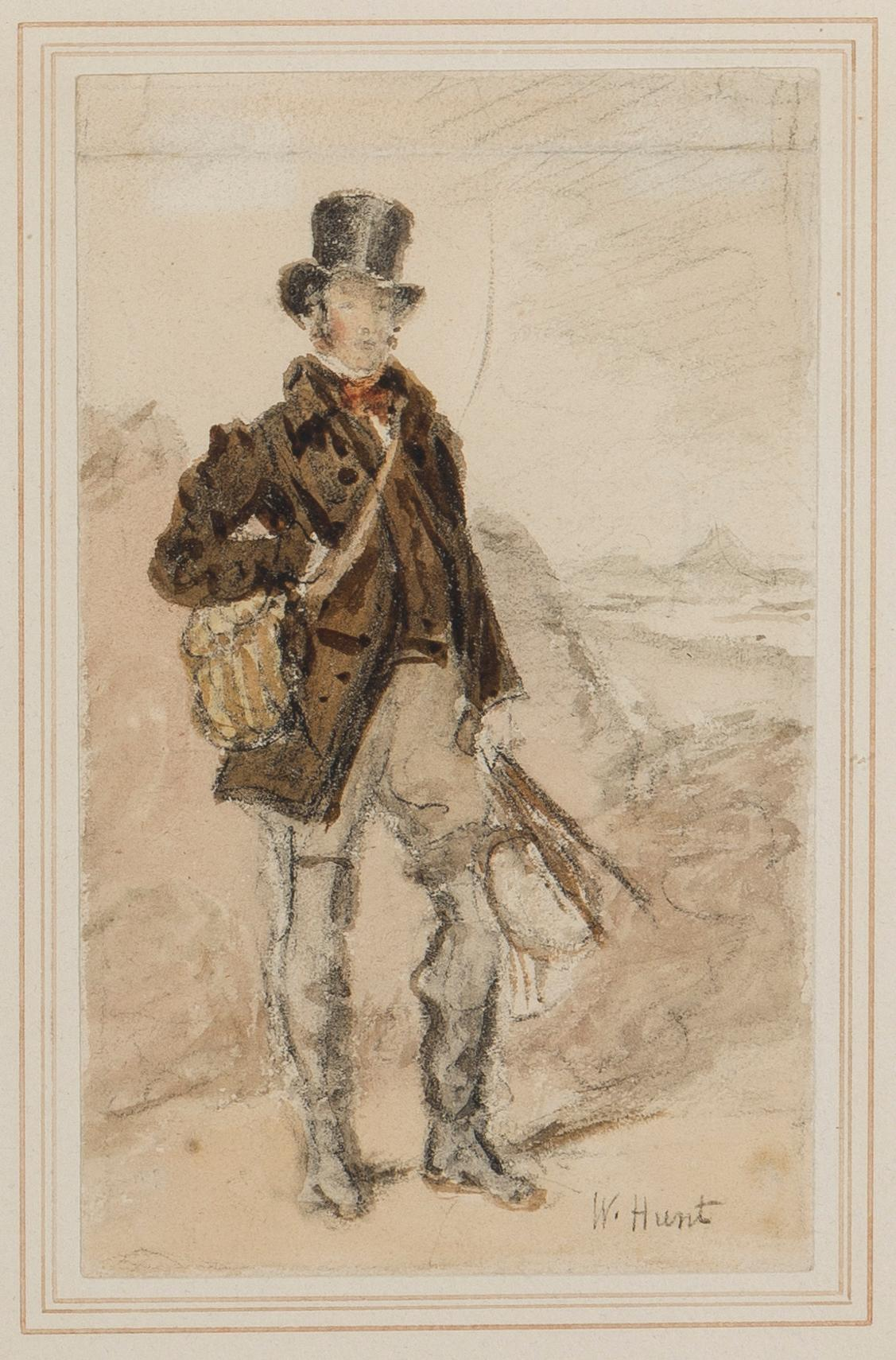 """William Henry Hunt, (1790-1864 British), Gamekeeper, self-portrait of the artist, Watercolor and pencil on paper under glass, Sheet: 6"""""""