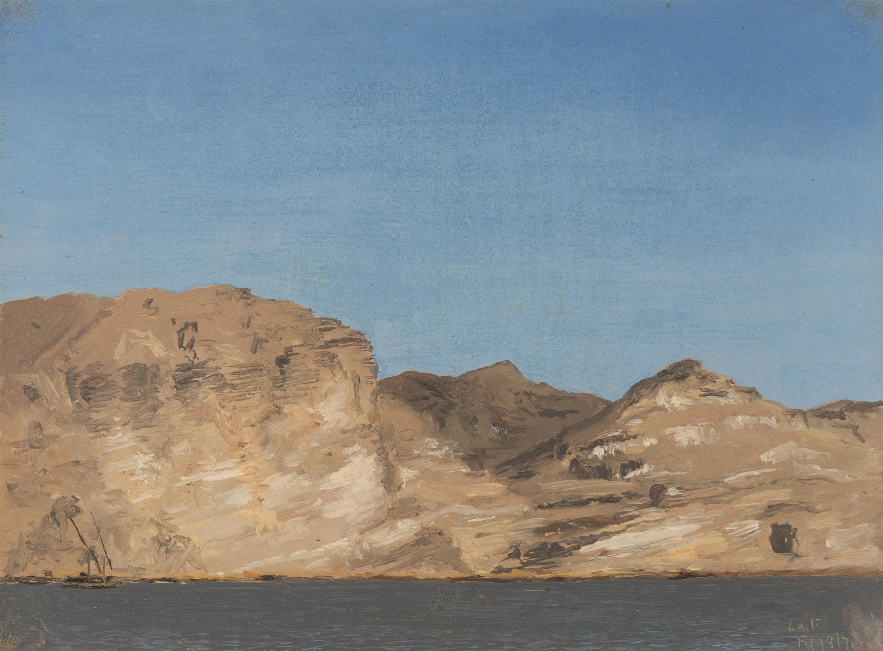 """Lockwood de Forest, (1850-1932 Santa Barbara, CA), """"Nile and Cliffs,"""" 1876, Oil on paper laid to board, 7"""" H x 9.25"""" W"""