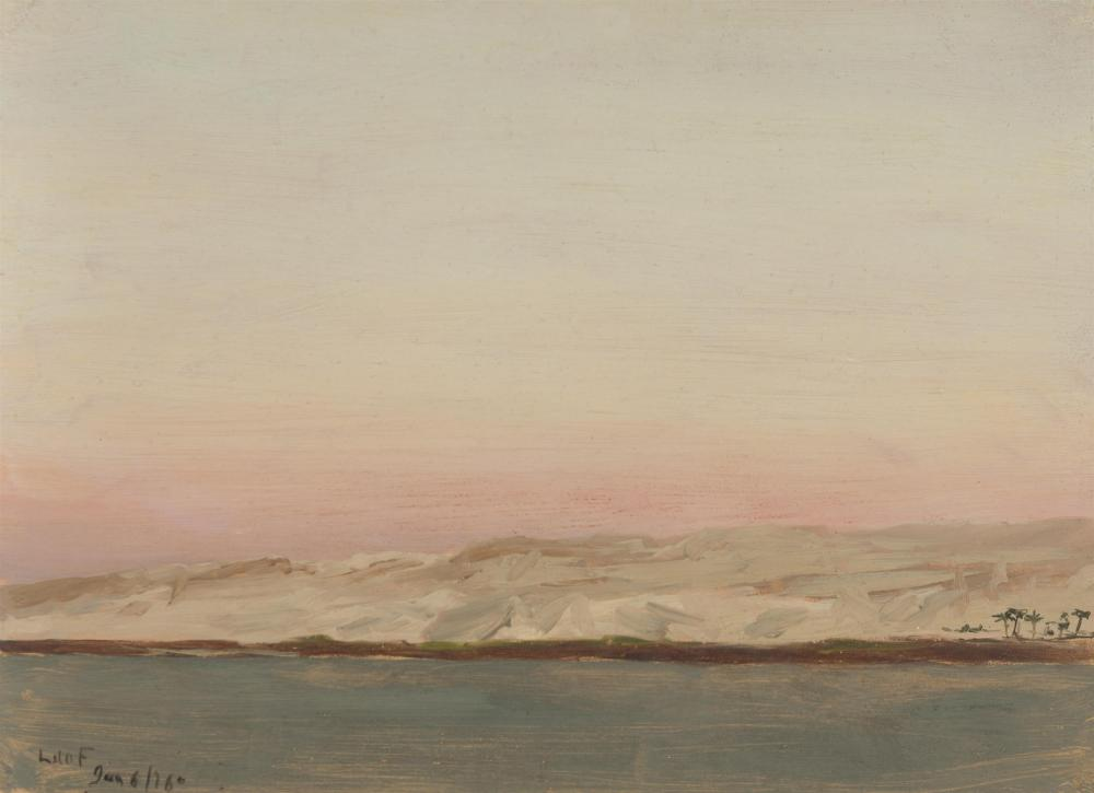 """Lockwood de Forest, (1850-1932 Santa Barbara, CA), """"Nile River Approaching Oasis,"""" 1876, Oil on paper laid to board, 7.25"""" H x 9.75"""" W"""