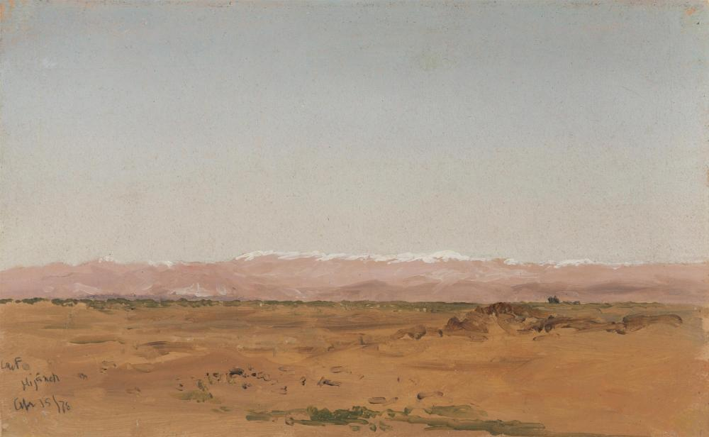 """Lockwood de Forest, (1850-1932 Santa Barbara, CA), """"Hijaneh, Syria,"""" 1876, Oil on paper laid to canvas, 6.25"""" H x 10"""" W"""