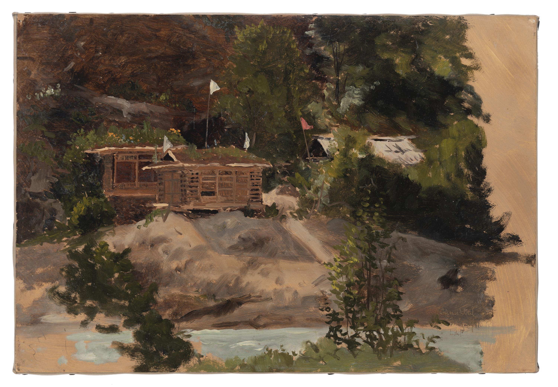 "Lockwood de Forest, (1850-1932 Santa Barbara, CA), ""Ganeshbal, Kashmir,"" 1881, Oil on paper laid to canvas, 9.5"" H x 14"" W"