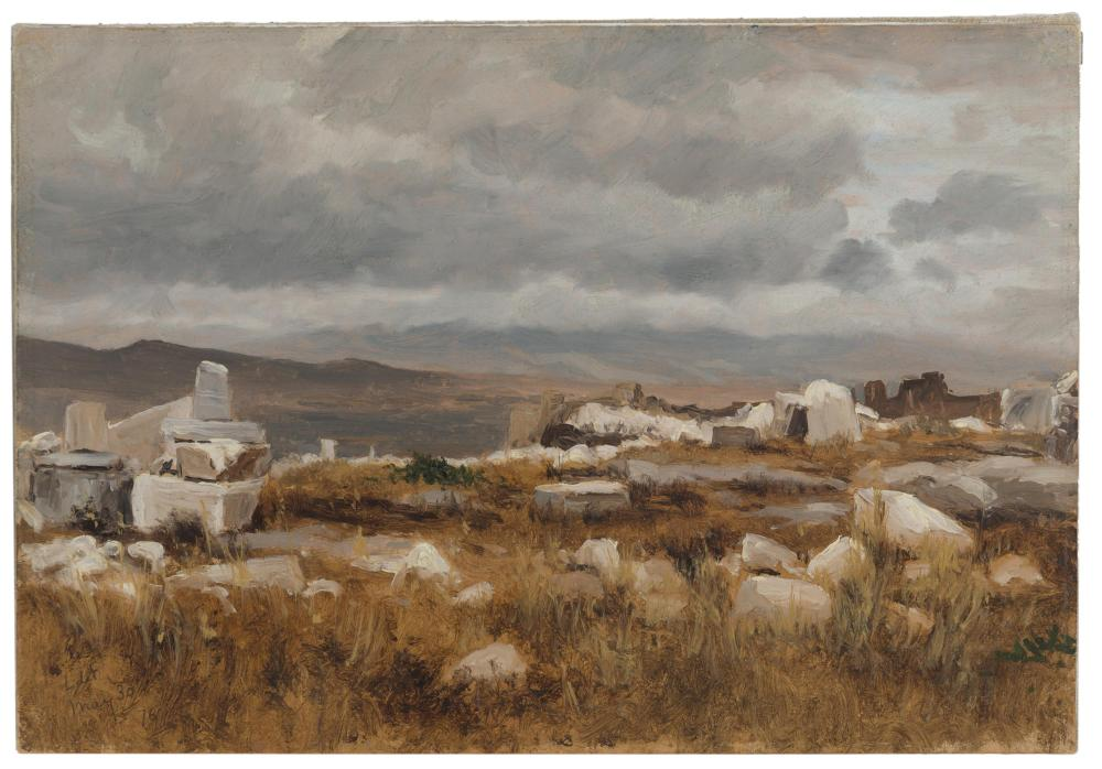 """Lockwood de Forest, (1850-1932 Santa Barbara, CA), """"Ruins in Athens, Greece,"""" 1876, Oil on paper laid to canvas, 9.5"""" H x 14"""" W"""