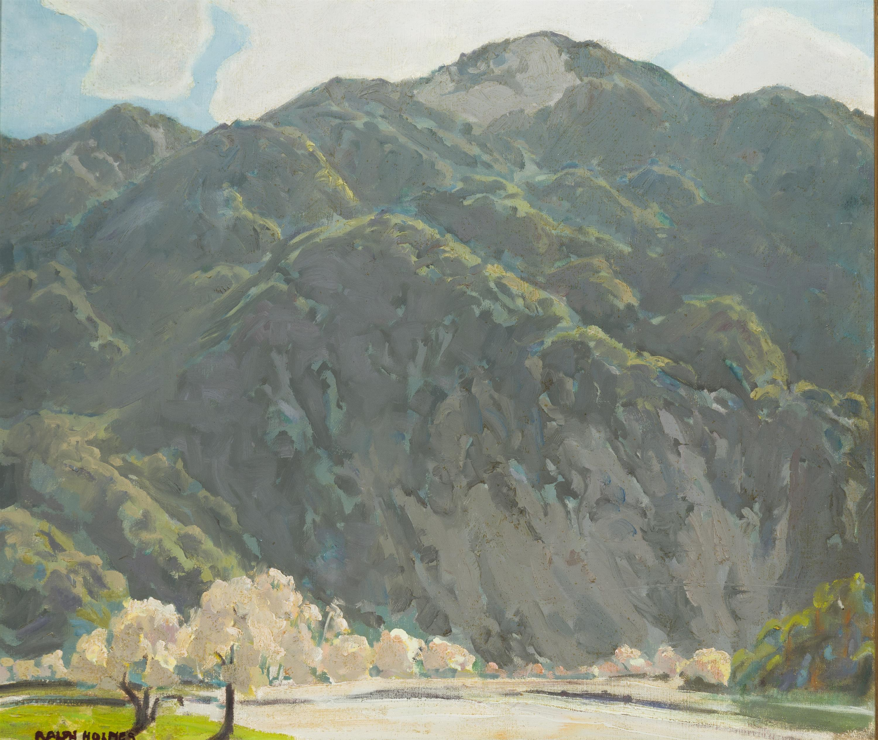 "Ralph Holmes, (1876-1963 San Luis Obispo, CA), ""Green Mountains"", Oil on canvas, 24"" H x 28"" W"