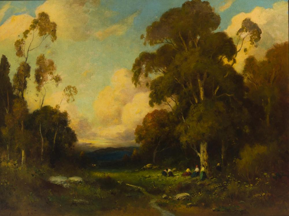 Alexis Podchernikoff, (1886-1933 Pasadena, CA), Figures in a landscape near a stream, Oil on canvas, 30