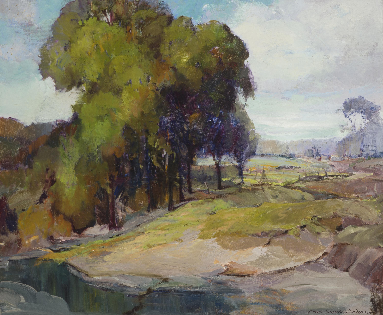 "Nell Walker Warner, (1891-1970 Carmel, CA), Landscape with fence, Oil on canvas, 20"" H x 24"" W"