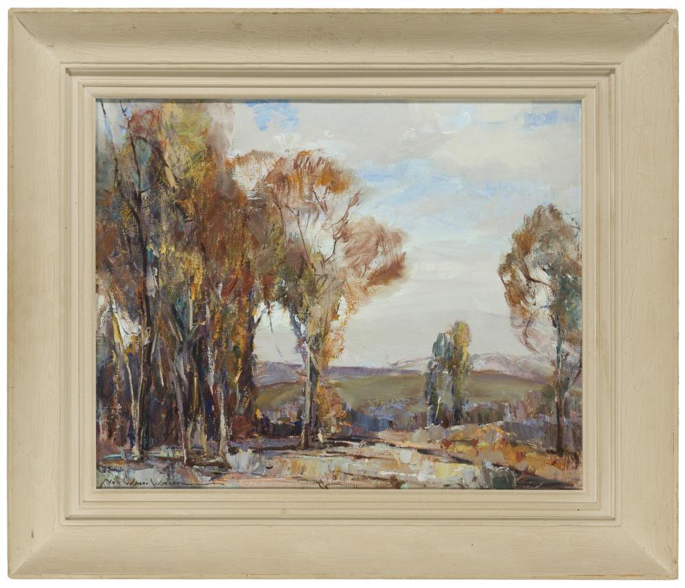 """Nell Walker Warner, (1891-1970 Carmel, CA), Trees in a landscape, Oil on canvas, 16"""" H x 20"""" W"""