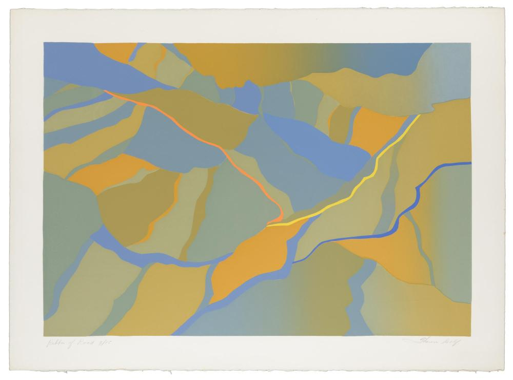 """Theresa Wolf, (20th Century American), """"Ribbon of Road"""", Serigraph on Arches paper, Image: 18"""" H x 26"""" W; Sheet: 22"""" H x 30"""" W"""