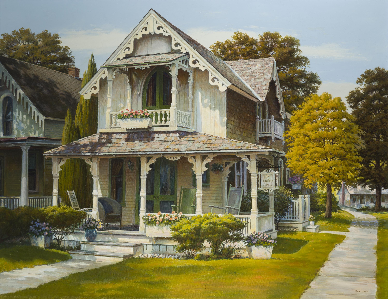 "Daniel Joseph Toigo, (1912-1992 Marin County, CA), ""Gingerbread,"" Victorian house, Oil on canvas, 28"" H x 36"" W"