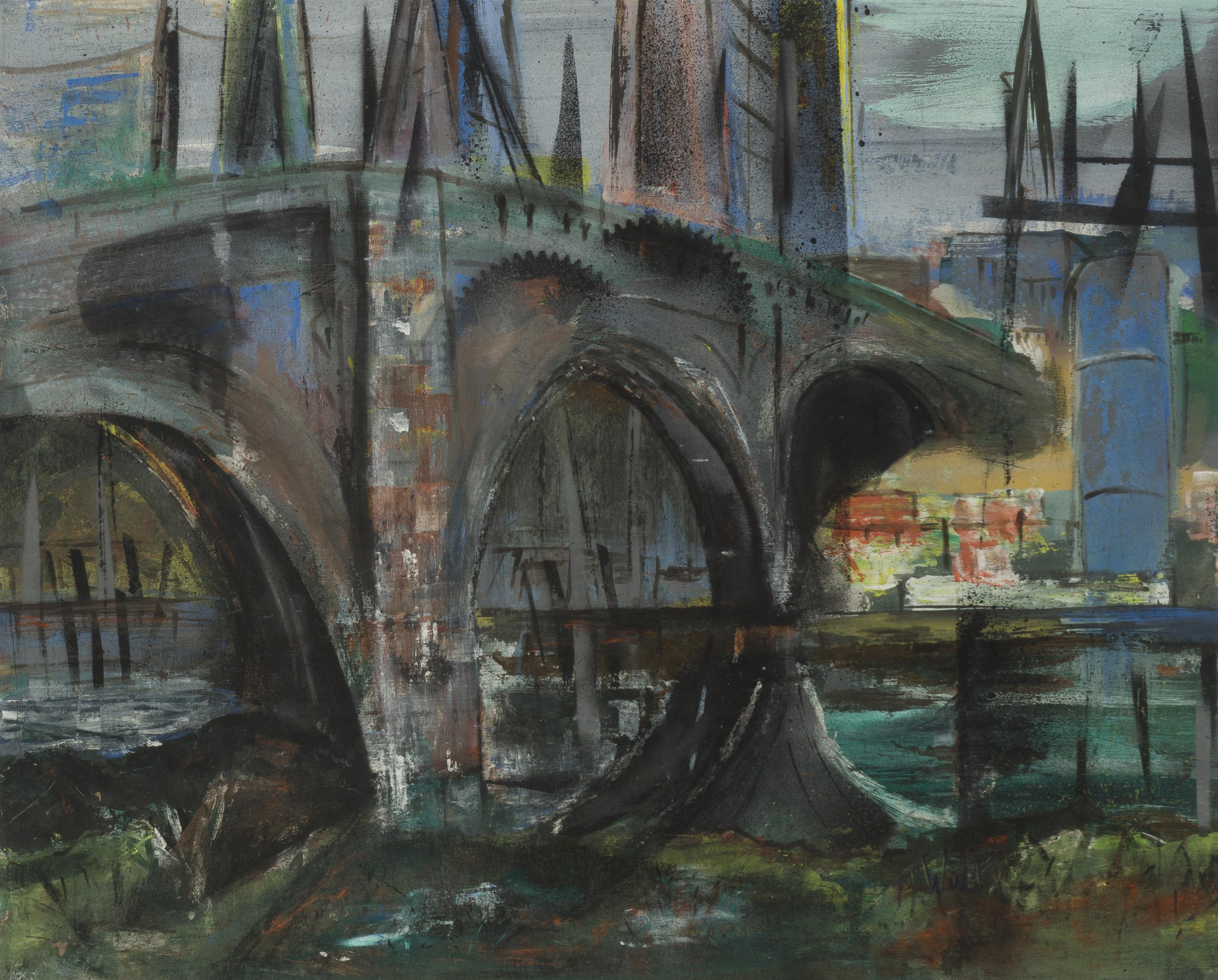 """Theresa Wolf, (20th Century American), Bridge in a cityscape, Mixed media on paper under glass, Sight: 19.5"""" H x 24"""" W"""