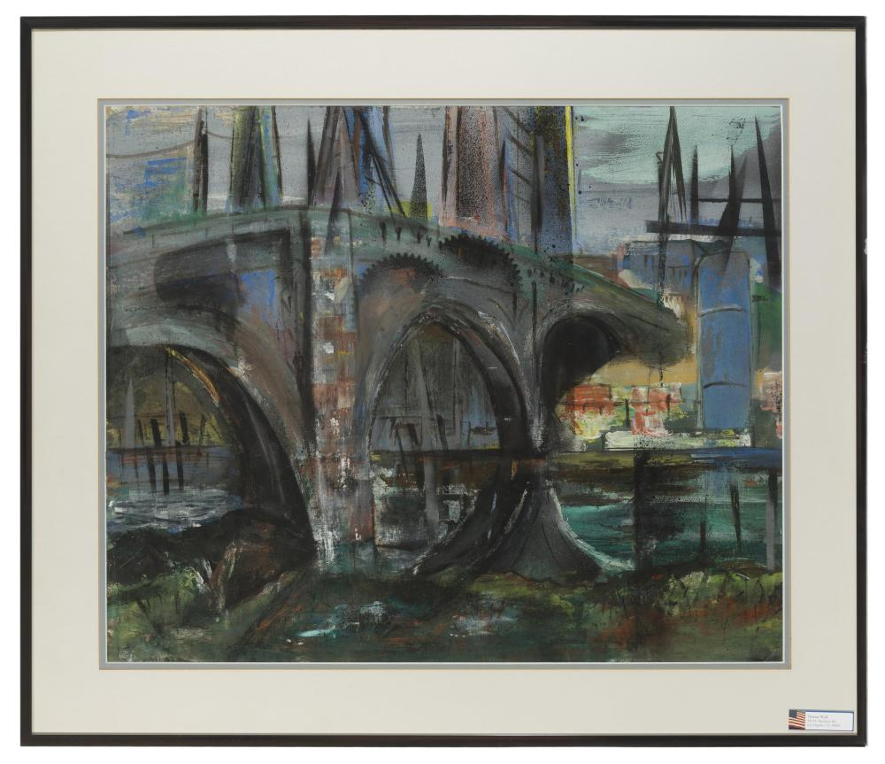Theresa Wolf, (20th Century American), Bridge in a cityscape, Mixed media on paper under glass, Sight: 19.5