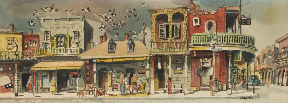 """Jake Lee, (1915-1991 Los Angeles, CA), French Quarter, New Orleans, Watercolor on paper under Plexiglas, Sight: 10"""" H x 27.5"""" W"""