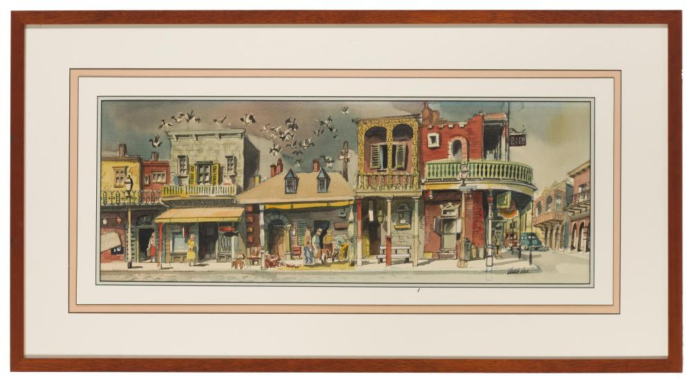 Jake Lee, (1915-1991 Los Angeles, CA), French Quarter, New Orleans, Watercolor on paper under Plexiglas, Sight: 10