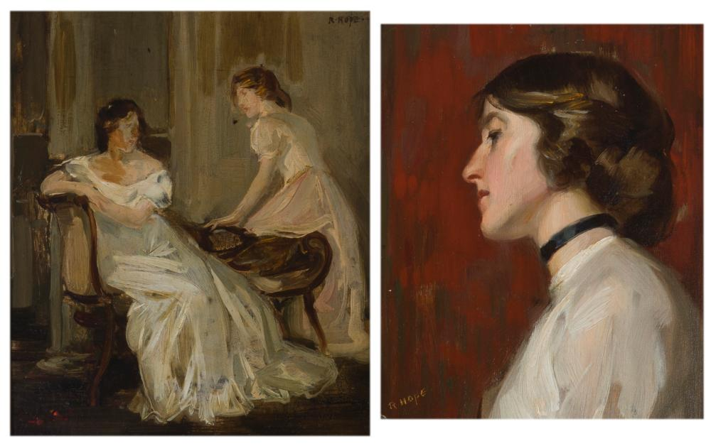 """Robert Hope, (1869-1936 British), Women in an interior and Woman in profile (two works), Each: Oil on board, Each: 10"""" H x 8.5"""" W"""