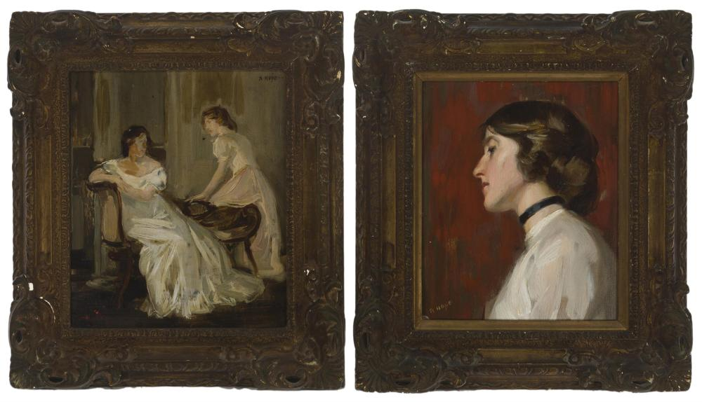 Robert Hope, (1869-1936 British), Women in an interior and Woman in profile (two works), Each: Oil on board, Each: 10