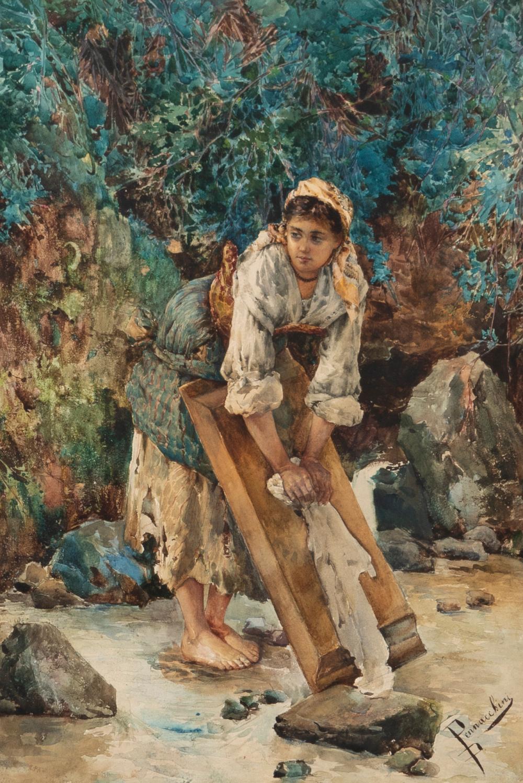 "Domenico Pennacchini, (1860-1917 Italian), Lady washing clothes, Watercolor on paper under glass, Sight: 14.5"" H x 21.5"" W"