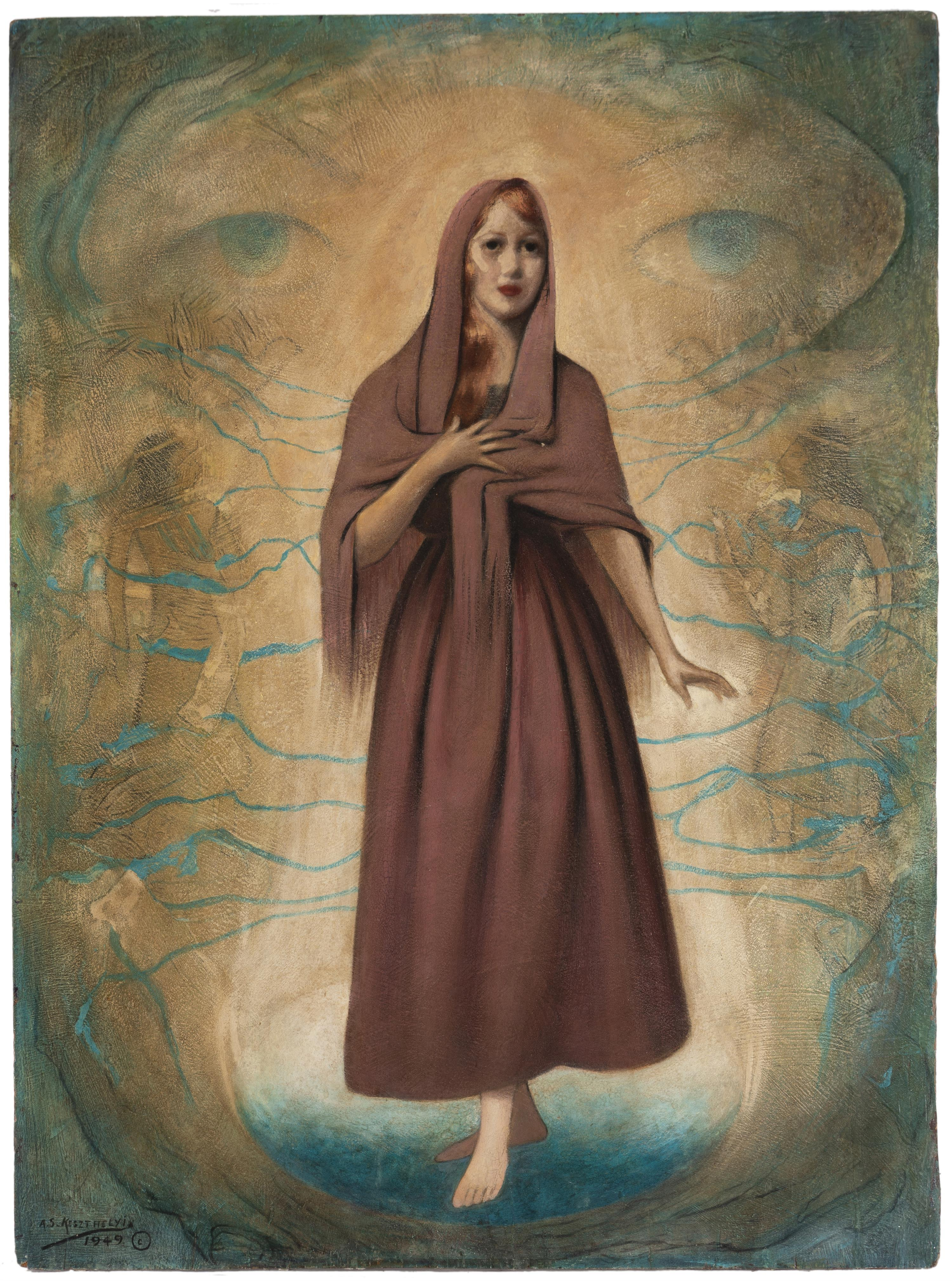 "Alexander Samuel Keszthelyi, (1874-1953 San Bernardino, CA), Woman in a surrealist composition, 1949, Oil on panel, 30"" H x 22"" W"