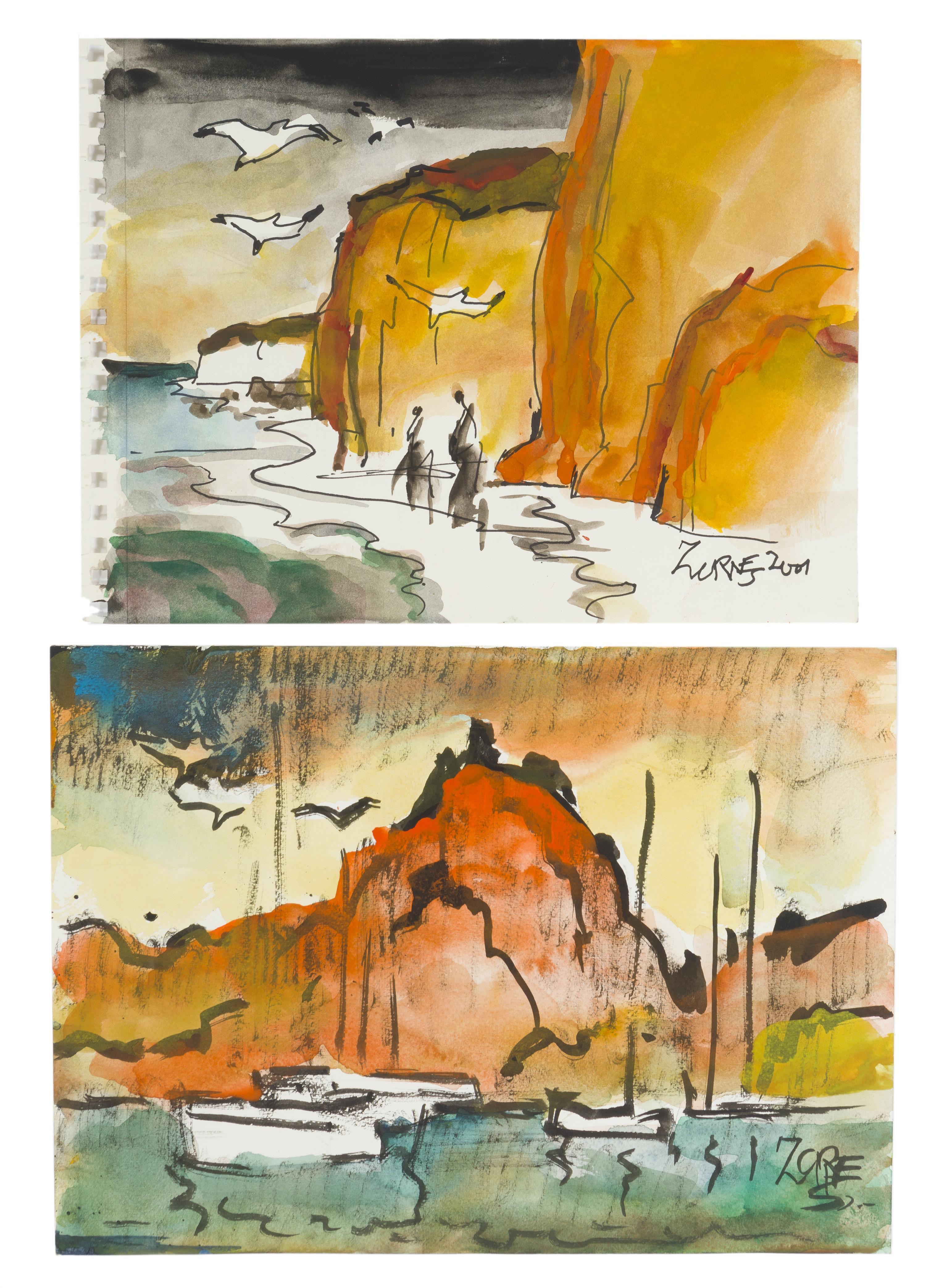 """Milford Zornes NA, (1908-2008 Claremont, CA), """"Cliffs and Sea at Laguna,"""" 2001 and """"San Arles,"""" 2003 (two works), Each: Watercolor on p"""