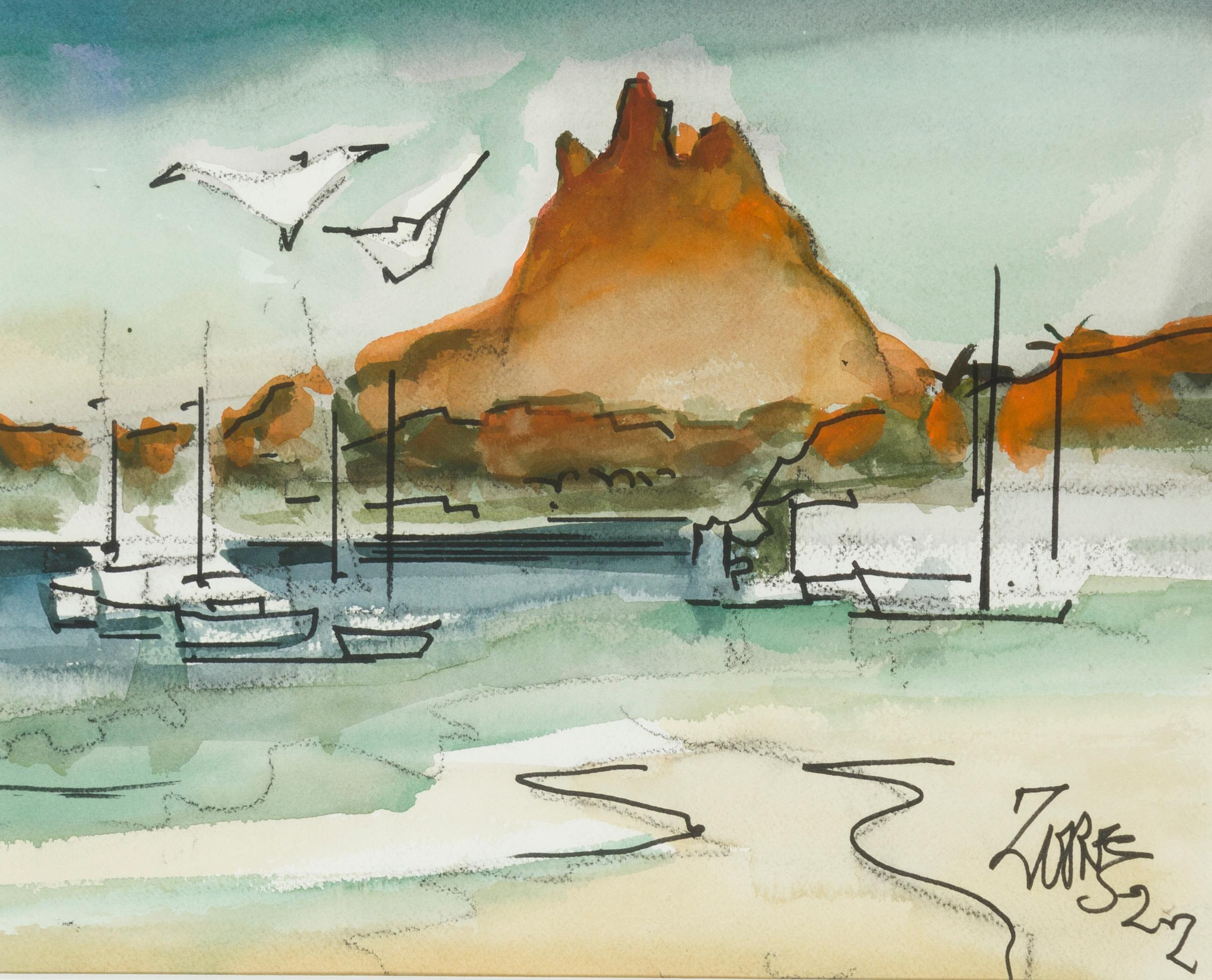 """Milford Zornes NA, (1908-2008 Claremont, CA), """"San Carlos,"""" 2002, Watercolor on paper under glass, Sight: 11"""" H x 14"""" W"""