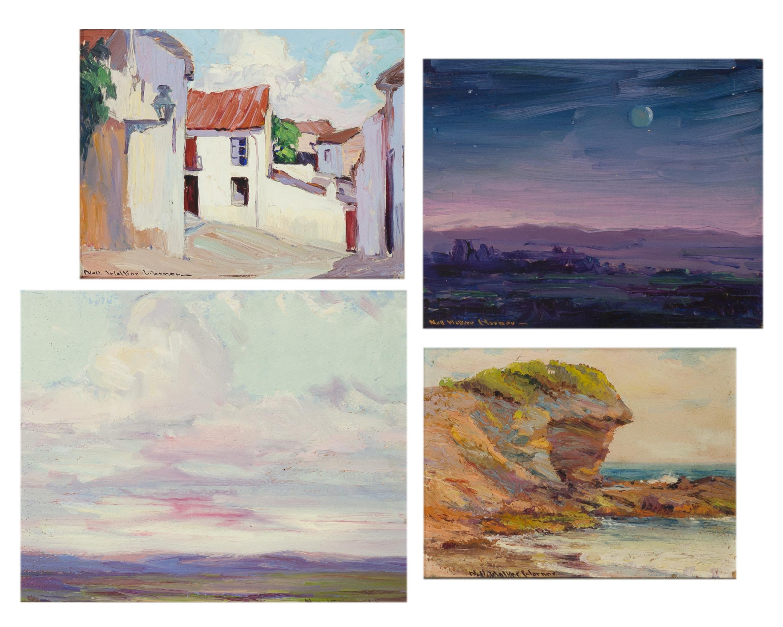 "Nell Walker Warner, (1891-1970 Carmel, CA), ""Evening,"" ""Night on the Desert,"" Coastal scene and Spanish style homes (four works), Each:"