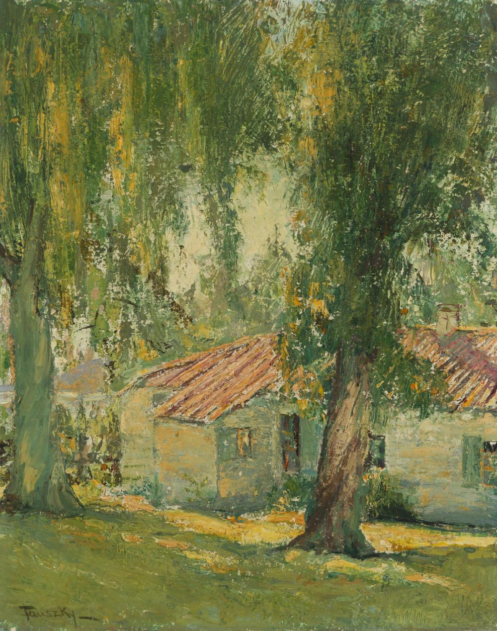 """David Anthony Tauszky, (1878-1972 Pasadena, CA), Cottage among trees, Oil on canvas, 20"""" H x 16"""" W"""