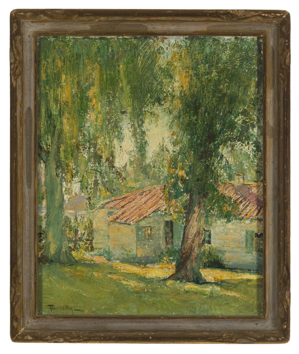 David Anthony Tauszky, (1878-1972 Pasadena, CA), Cottage among trees, Oil on canvas, 20