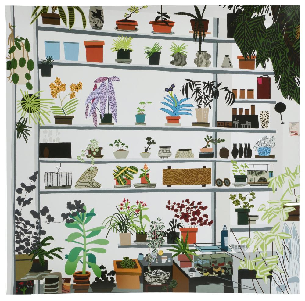 "Jonas Wood, (b. 1977 American), ""Large Shelf Still Life,"" 2017, Offset color lithograph, Sheet: 23"" H x 23"" W"