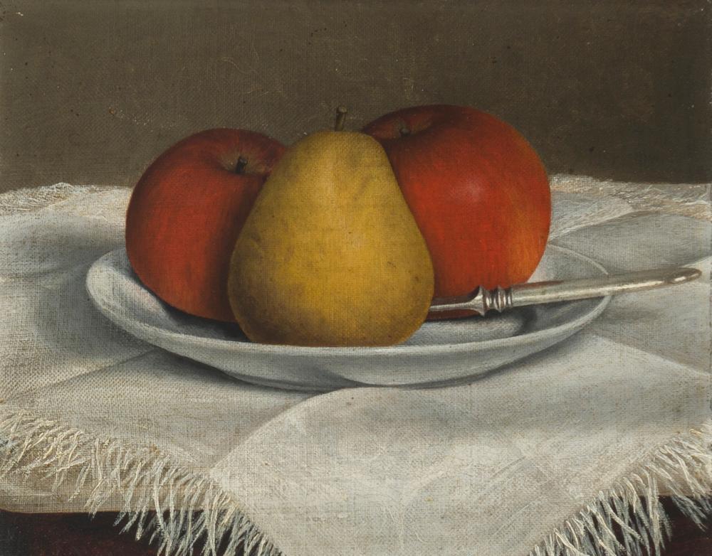 "Daisy C. Kittredge, (1871-1919 San Francisco, CA), ""Still life with apples and pear"", Oil on canvas, 8"" H x 10"" W"