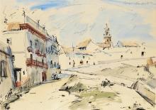 "Sergei Bongart, (1918 - 1985 Santa Monica, CA), ""Carmona"", 1963, Spanish town scene, Watercolor on paper under glass, Sight: 19.5"" H x"