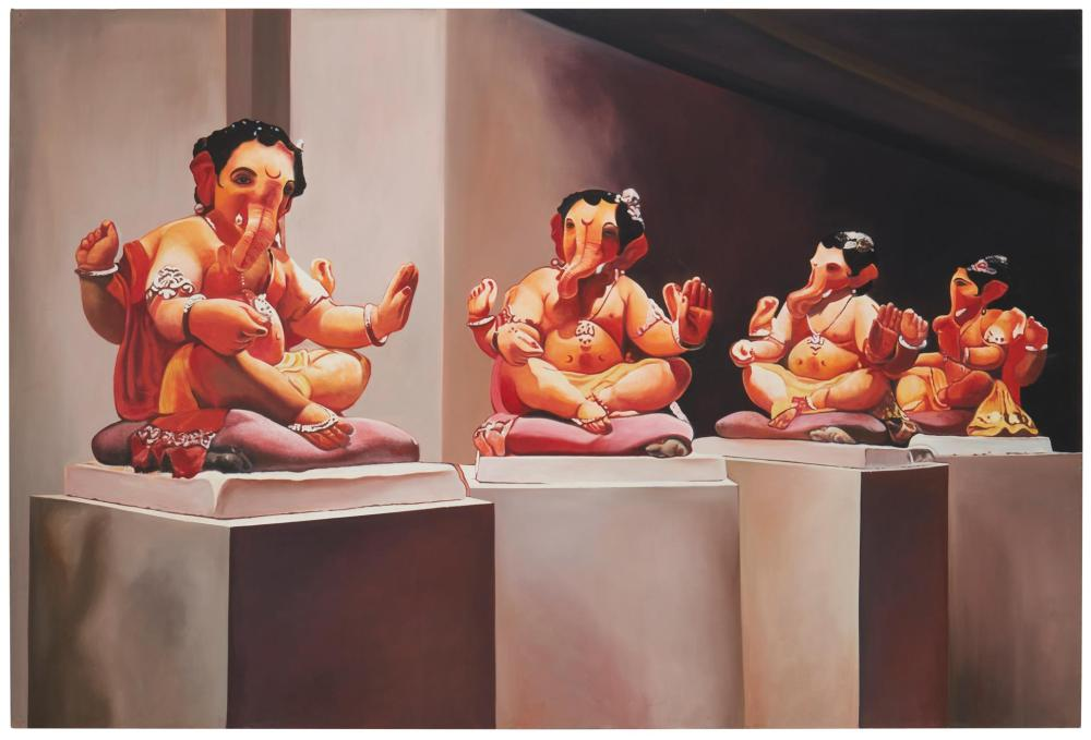 """Sudarshan Shetty, (b. 1961, Indian), Untitled, 2007, Oil and acrylic on canvas, 48"""" H x 72"""" W"""