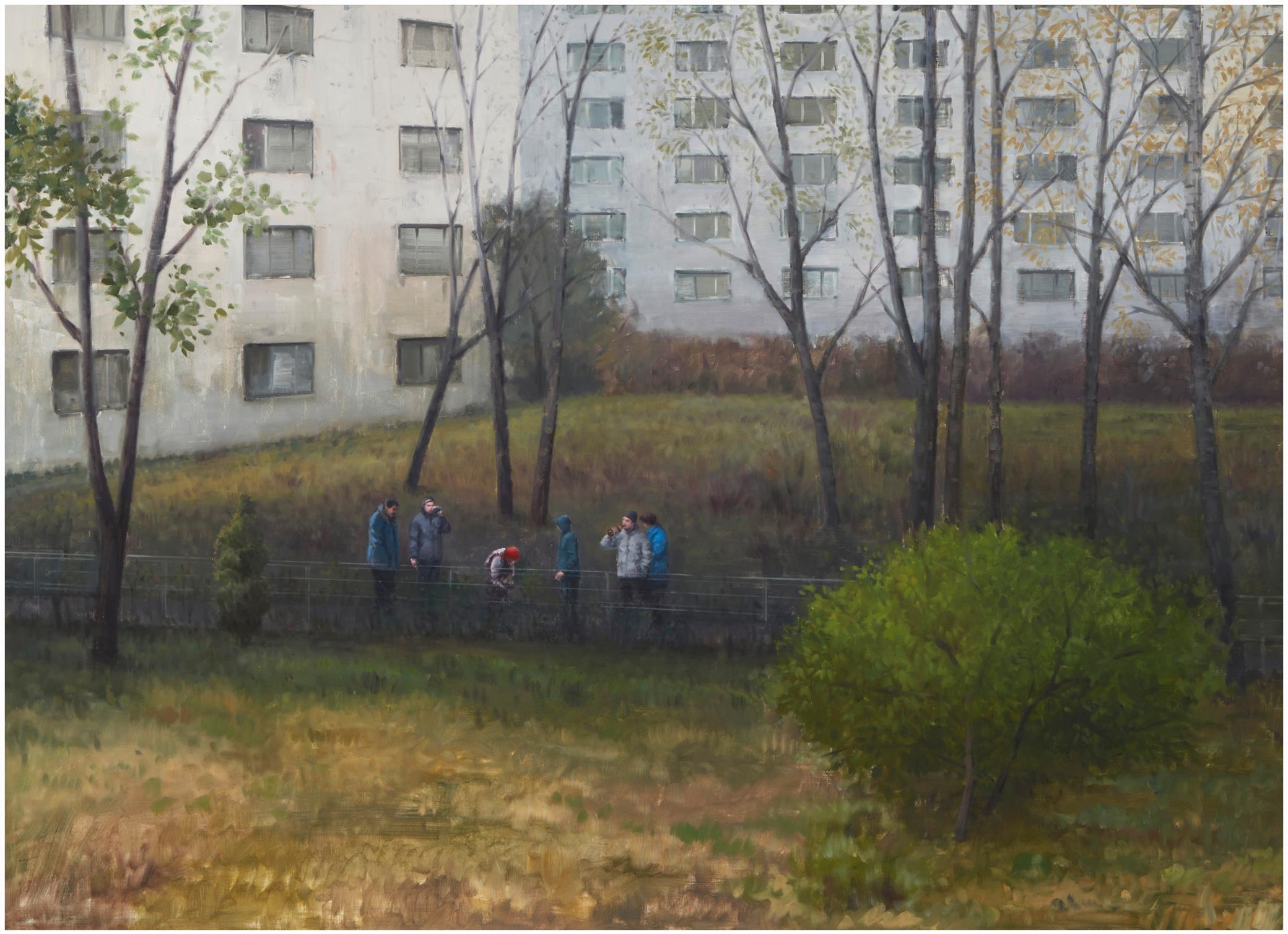 """Serban Savu, (b. 1978, Romanian), """"Inner Life,"""" 2010, Oil on canvas, 63"""" H x 86.5"""" W"""