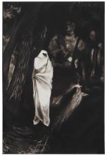 """Michele Zalopany, (b. 1955, New York, NY), """"Fatima waiting in the Black Forest,"""" 1985, Charcoal and pastel on paper laid to canvas, 90."""