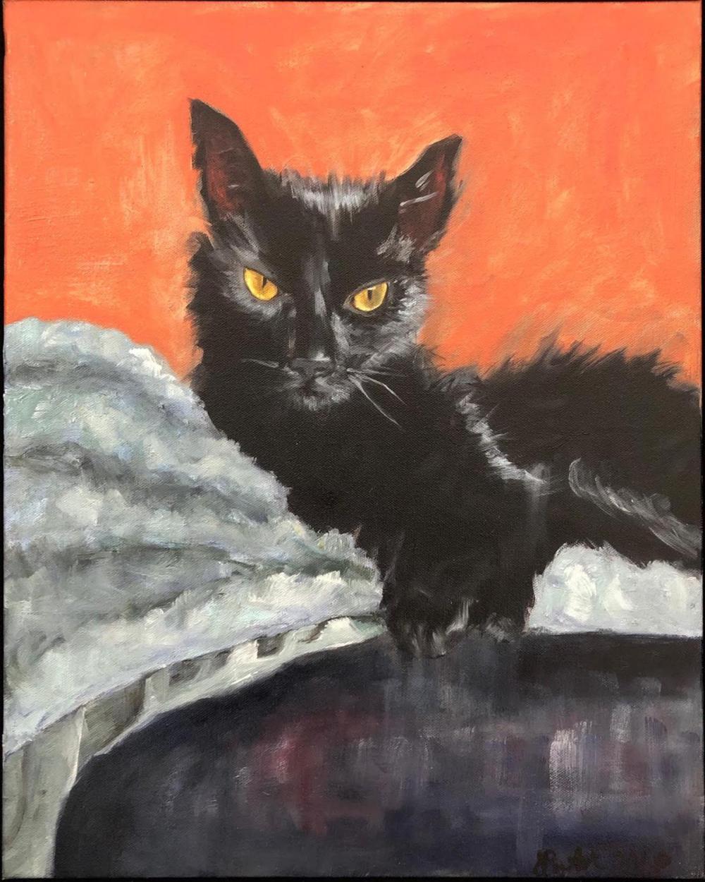 "Jodi Pantuck, (b. 1967, American), ""Arya,"" 2018, Oil on canvas, 16"" H x 20"" W"
