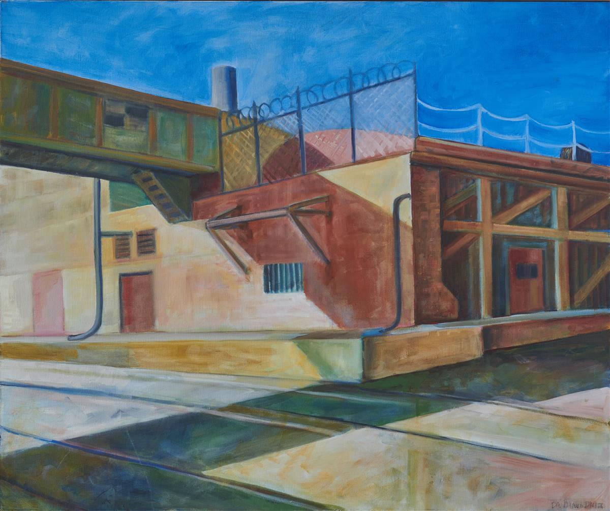 """David Phelps, (b. 1952, American), """"Industrial Los Angeles Overpass,"""" 2010, Oil on canvas, 30"""" H x 36"""" W"""
