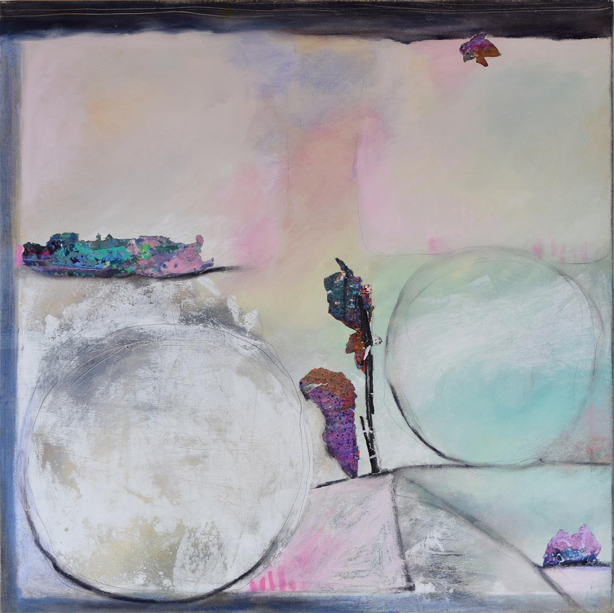 """Linda Stelling, (b. 1951, American), """"The Word is Love,"""" 2020, Mixed media on canvas, 36"""" H x 36"""" W"""