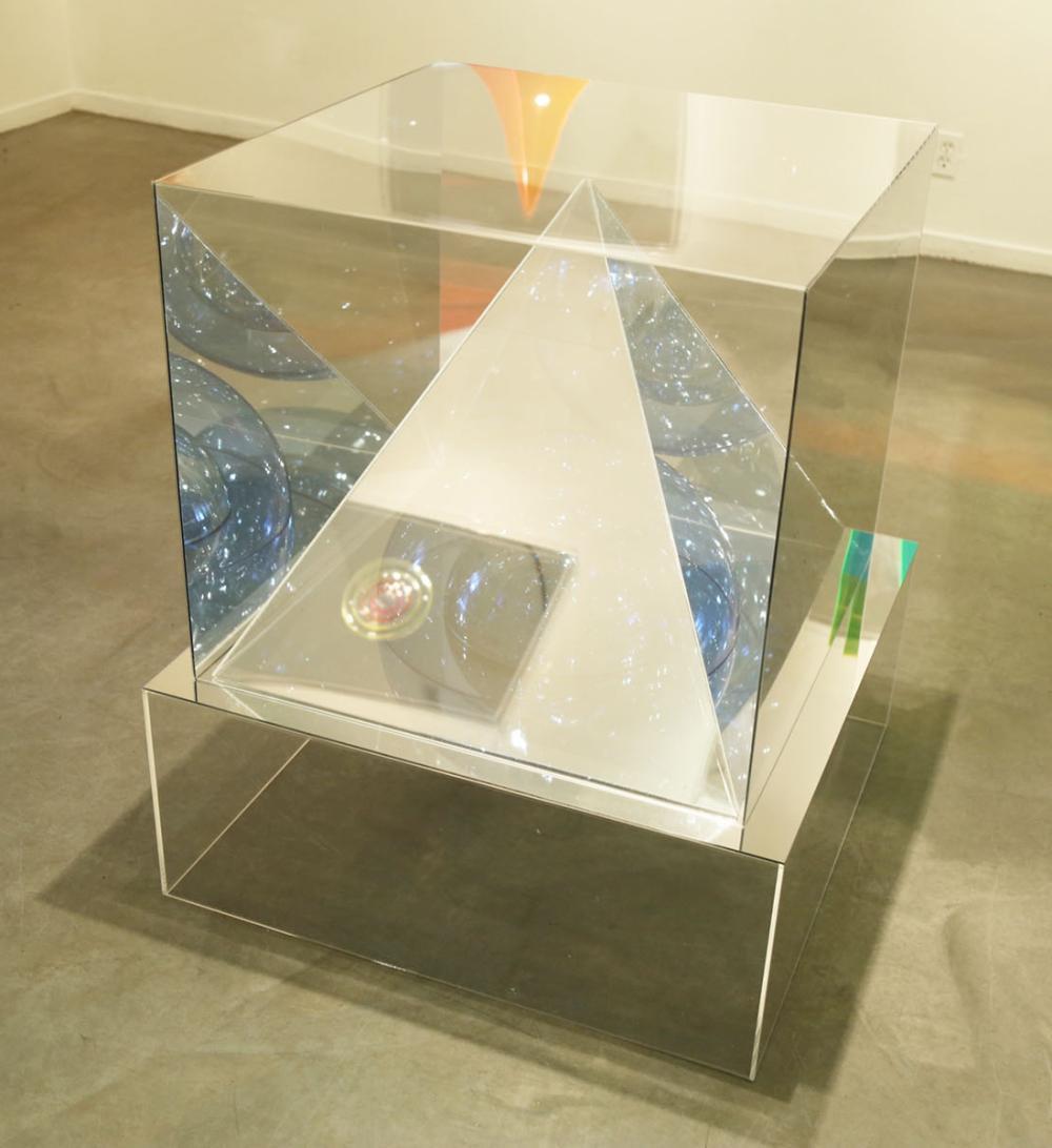"Seda Saar, (b. 1961, Iranian), ""Polyhedra,"" 2020, Acrylic and mirror, 48"" H x 36"" W x 36"" D"