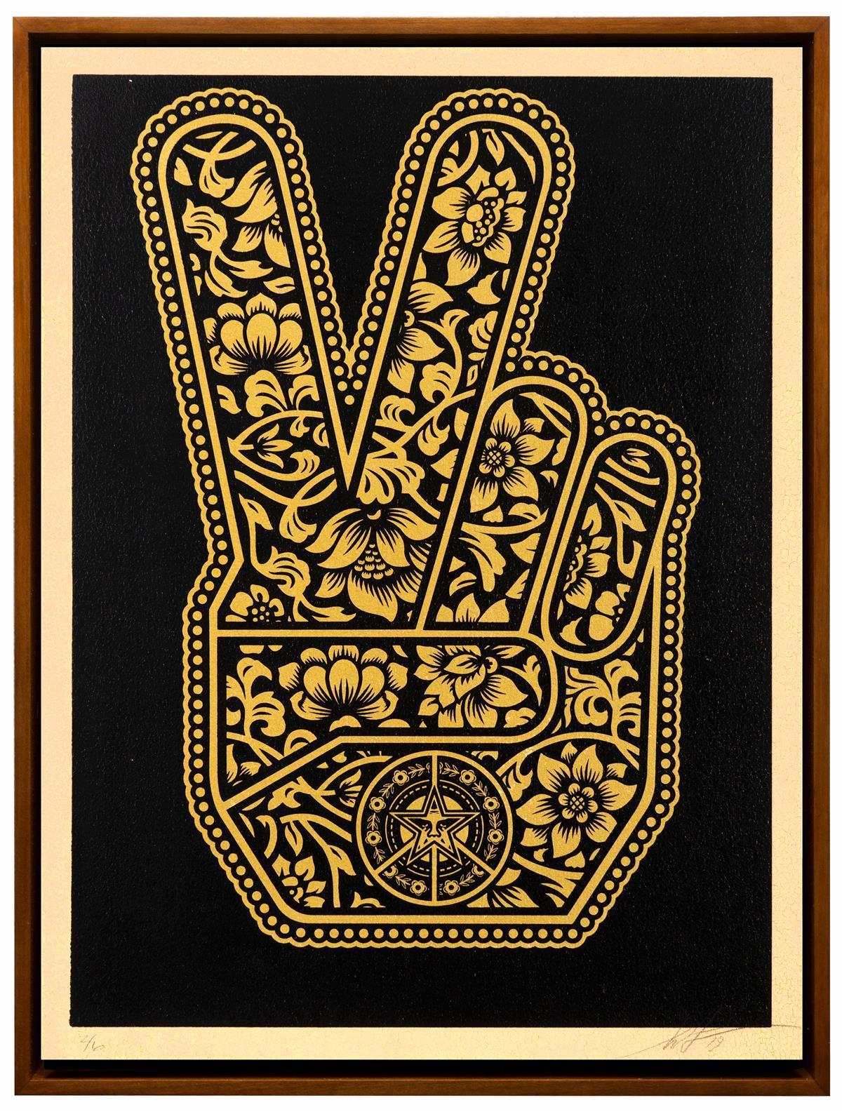 "Shepard Fairey, (b. 1970, American), ""End Gun Violence Together Peace Fingers,"" 2019, Silkscreen on Wood Panel, 24"" H x 18"" W"