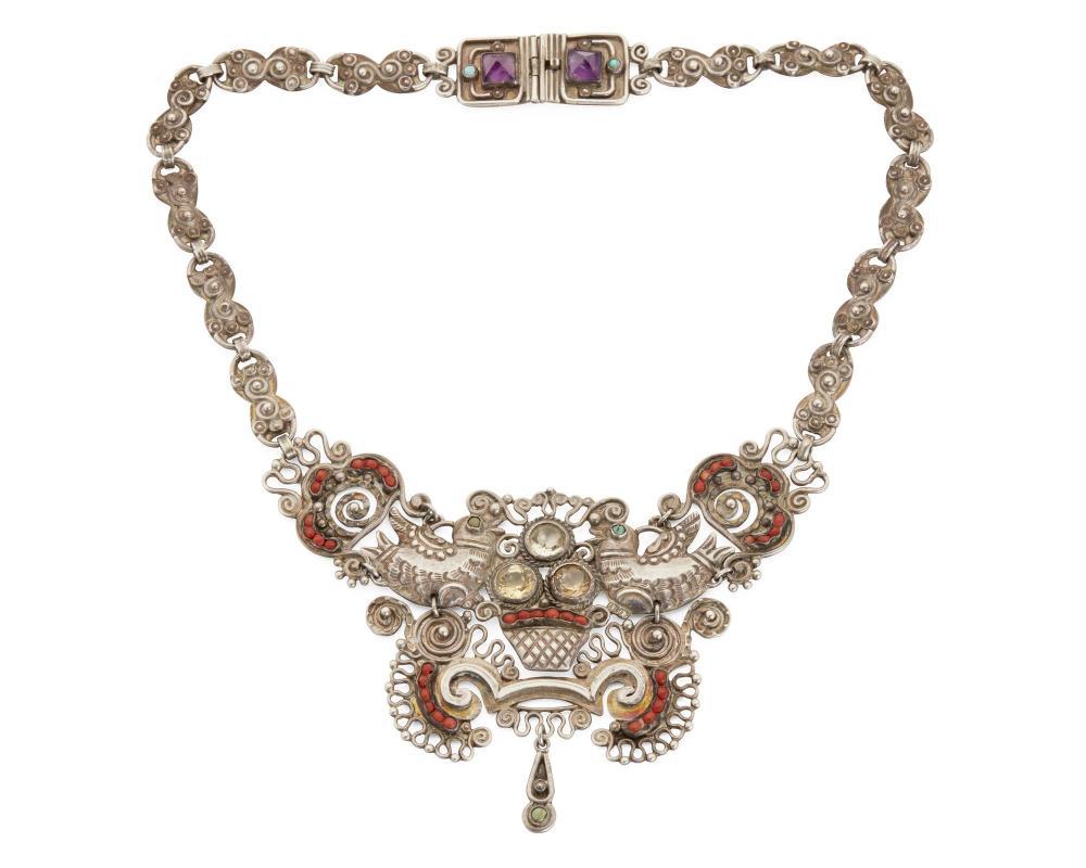 Image ref 0E26737535 - A Matl silver and gem-set necklace