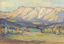 "Sheldon Parsons, (1866-1943 Santa Fe, NM), ""New Mexico Landscape"", Oil on board laid to board, 7.5"" H x 10.5"" W"