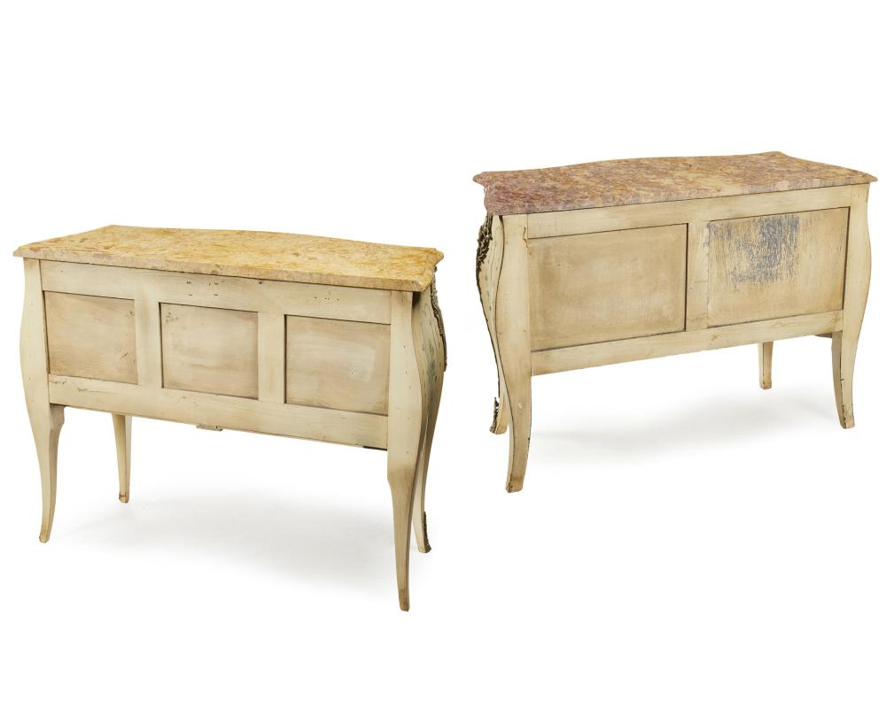A near-pair of painted commodes