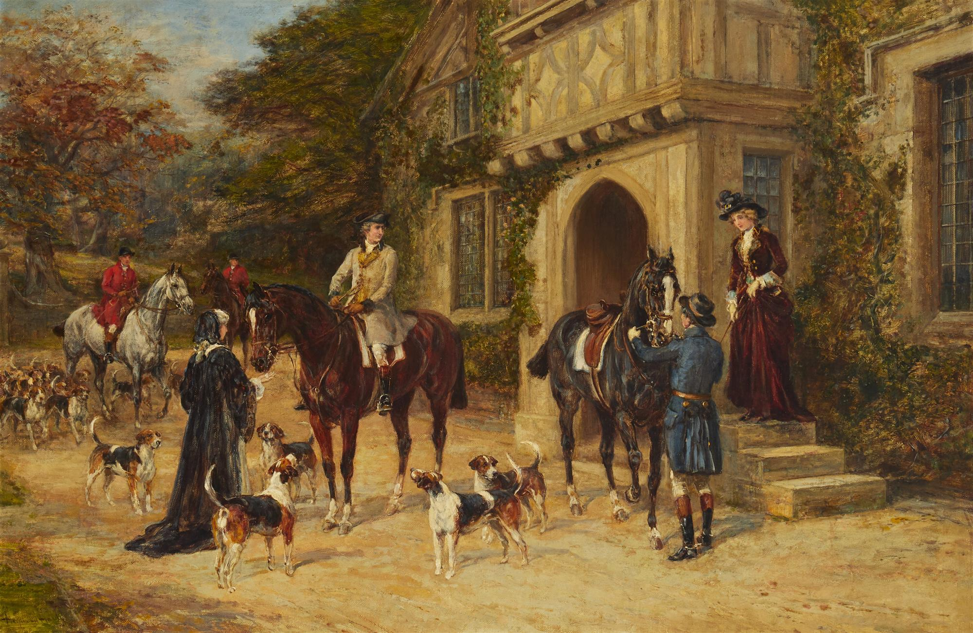 "Heywood Hardy, (1843-1933, British), ""Going to the meet"", Oil on canvas, 20"" H x 30"" W"